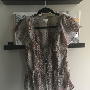 Patterned Button Down Blouse